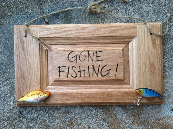 Gone Fishing Sign with Lures