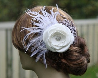 Bridal Hair Flower - Bridal Hair Accessory - Light Ivory - Satin Flower Clip  - Feather Flower - Birdcage Veil Netting -  Rhinestone