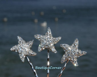 Starfish Bridal Hair Clips( Set of 3) - Bridal Hair Accessory - Bridal Headpiece - Rhinestone Bobby Pins - Beach Wedding Hair Piece