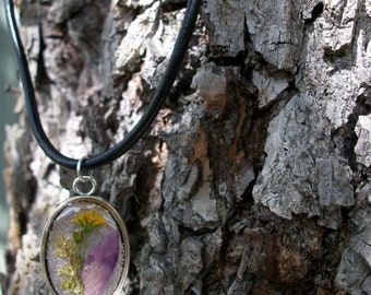 Resin jewelry necklace - wild real flowers - delicated small real mountain flowers on a leather cord with magnet clousure -OOAK