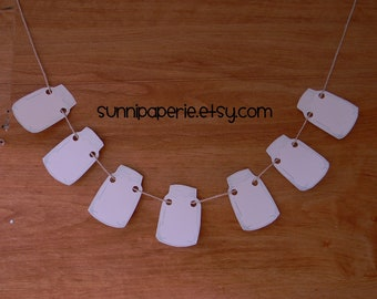 Paper Mason Jars Pennant Banner in Pale Blue