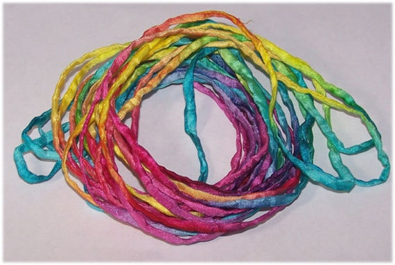 Hand Painted Silk Ribbons Sassy Neon Bracelet Wraps Silk Cords 5yds