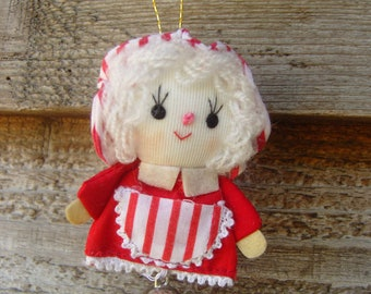 Mrs. Claus bell ornament, 1980s Dakin ornament, cloth ornament, 80s Christmas