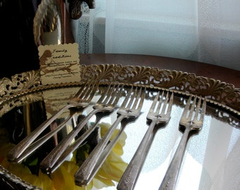 "Salad/Dessert Forks - Set of 5 ""Milday"" pattern by Commuity Plate circa 1940"