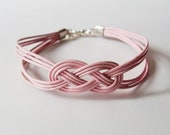 Leather Sailor Knot Bracelet - Pink Leather Strap Bracelet with Sailor Knot - Bridesmaids Gift Idea