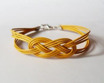 Leather Sailor Knot Bracelet - Mustard Yellow Leather Strap Bracelet with Sailor Knot - Bridesmaids Gift Idea