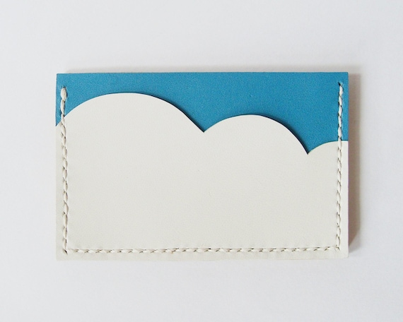 Business Card Holder - Leather Card Case with Aqua Blue Sky and White Cloud - Handmade and Hand Stitched - Free Monogram