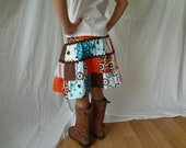SALE Girls Patchwork Skirt 4T 5 6 with Fabric Flower Brown Blue Orange Riley Blake Allstar