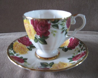 Royal Grafton yellow/red rose tea cup and saucer