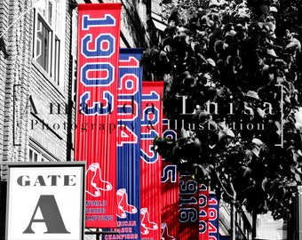 Red Sox Fenway World Series Flags Fine Art Photography Print