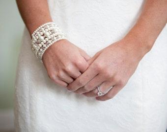Beaded Cuff Bracelet Layered Multi Strand Pearl Bracelet Chunky Wrap Bracelet Wedding Bridal Cuff White or Ivory Pearls