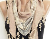 Summer scarf- Light taupe tulle  triangle lace scarf