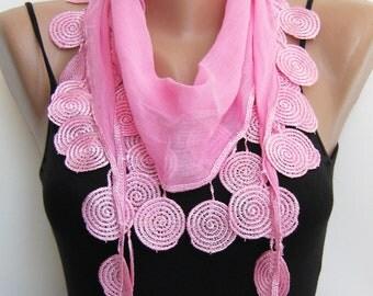 Pink cotton lace summer scarf ,headband
