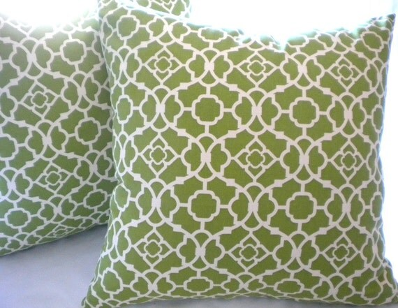 Decorative Olivey green and cream -18x18 pillow cover Indoor/outdoor beach Lattice Pillow
