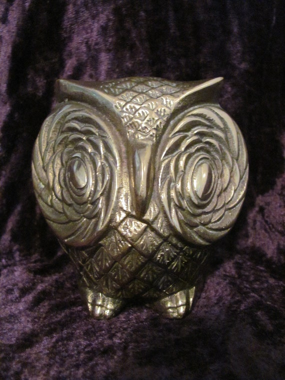 Retro, brass owl sculpture or paperweight