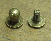 50 Button Studs Small Ant. Brass