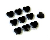 10mm 50pcs Black heart studs / HIGH Quality - Fikashop