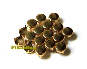5mm 50pcs Gold flat head round studs / HIGH Quality -  Fikashop