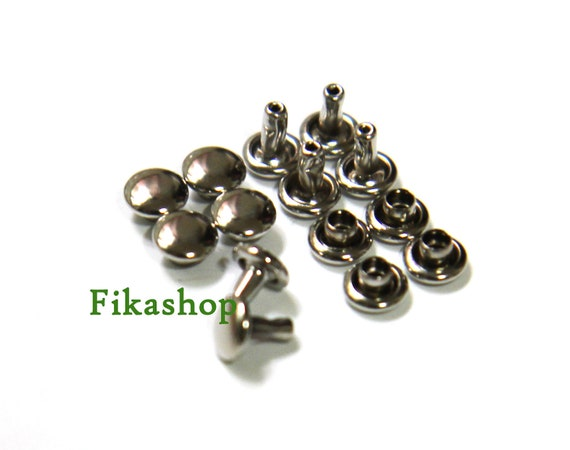 40% Off Clearance SALE: 5mm 50sets Silver round double cap Rivet rapid studs / HIGH Quality - Fikashop