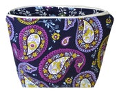Cosmetic pouch Toiletry colorful pasley cotton print Zipper closure
