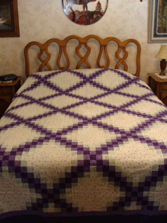 queen/king size triple irish chain in purple, green, and cream - top & binding only