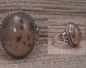 Vintage Sterling Silver Cabochon Mossy Agate Ring sz 9.5