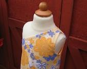 Girl's Asymmetrical One Shoulder Sundress Handmade Dress Yellow Orange Blue White Flower Print Size 3 3T 4 4T 5 6 Children's Clothing