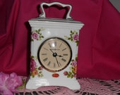Beautiful Vintage Old Country Rose Floral Bone China Howard Miller Coach Shelf Clock with Alarm