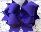 Purple Hair Bow...Girls Hair Bow...  Triple Layer Spikey Boutique Hair Bow...with headband
