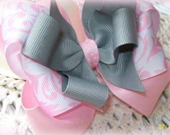 Girls Hair Bow...Pink White and Grey Hair Bow.....Boutique Hair Bow...Toddler Hair bow