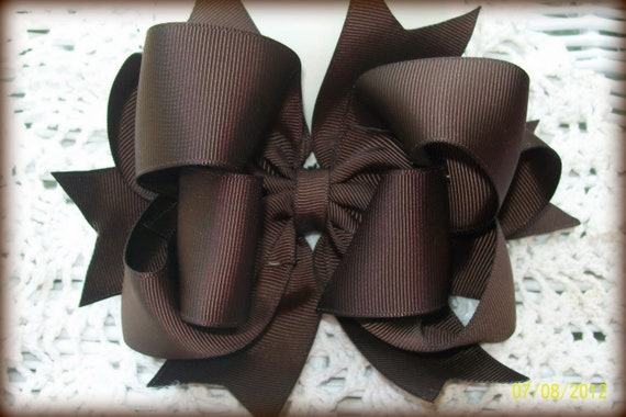 Brown Hair Bow... Girls Hair Bow...Double Spikey Boutique Hair Bow...with headband
