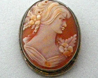 Edwardian Cameo Shell Brooch Pendant of Maiden with Tresses and Flowers Framed in Sterling Silver