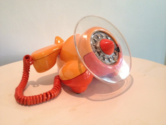 vintage ALEXANDER GRAHAM PLANE phone by northern telecom in orange