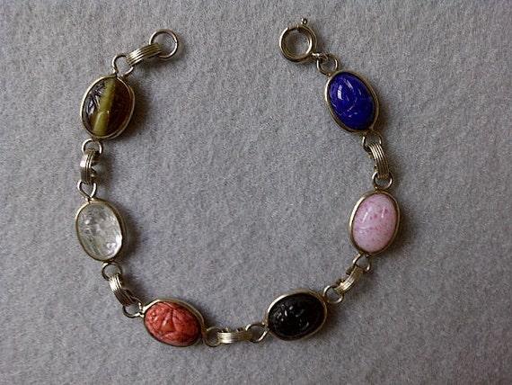 Egyptian Revival, Vintage Scarab Bracelet, Scarab Cabs, Hieroglyphs, Link Bracelet, Excellent Condition, Gorgeous