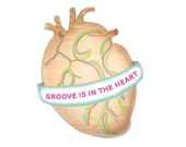 Groove is in the heart neon / art print 8 x 10 / colorful / anatomical heart
