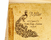 Royal Peacock  - Personalized Wooden Stamp - FREE SHIPPING