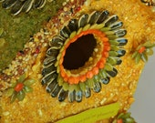 "Birdhouse. Gayle Collection. Flowers and Birds. Designed With Various Seeds - NON-Edible.........""The Gayle"""