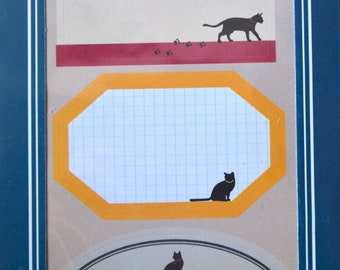 A Set of 4 Sheets  Labels Stickers- Black Cats