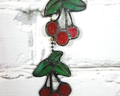 Vintage Stained Glass Ceiling Fan Pulls. Set of Two. Cherries. Circa 1970's-1980's. Farmhouse Style.