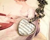 Pride and Prejudice Elizabeth Bennet and Mr Darcy Heart Shaped Antiqued Bronze Book Page Necklace