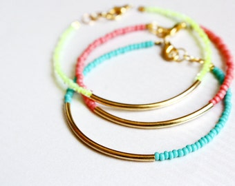 gold bar bracelets - minimalist jewelry - friendship bracelets SET OF 3 bangle / gift for her