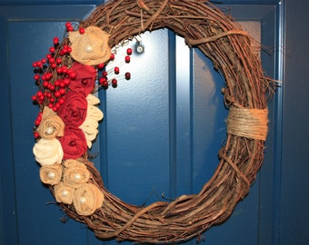 Burlap and Berry Wreath