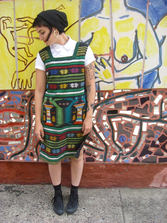 Colorful Guatemalan Jumper Dress with Folk Art Fabric