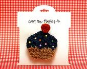 Crochet Cupcake Hair Clip in Navy