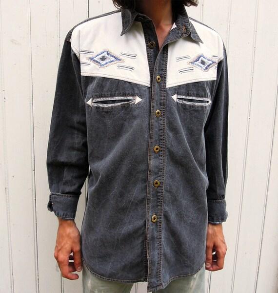 Mens 70s Vintage Embroidered Western Shirt