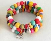 Wooden beaded bracelet - colorful