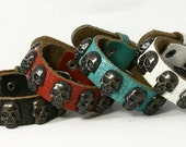 Skull Studded Genuine Leather Bracelet, Leather Cuff. B008