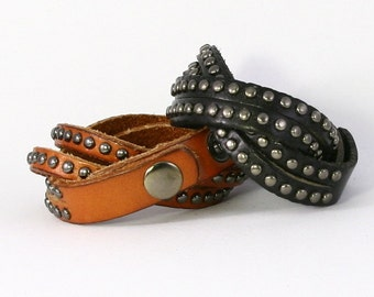 Genuine Studded Leather Wrap Cuff Bracelet with Round Metal Studs, Wide High-Quality Double Strand. B005