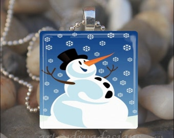 JOLLY SNOWMAN Christmas Winter Snowflake Glass Tile Pendant Necklace Keyring