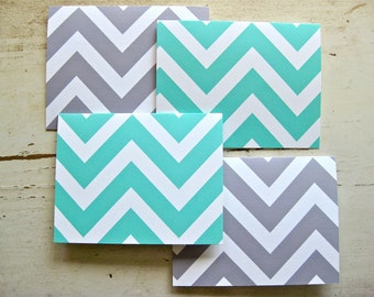 Chevron Blank Notecards - 1 Design - Set of 8 - Personalization Available